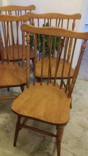 Juego 4 sillas americanas windsor madera roble macizo