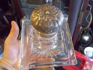 antiguo tintero de cristal frances con tapa de plata sellada