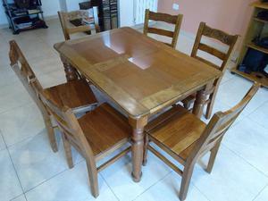 juego mesa y 6 sillas de madera maciza