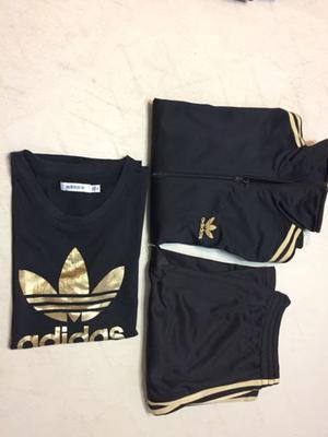 Conjunto Adidas original talle M, negro con dorado, campera,