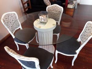 Mesa redonda de 110 cm con tapa de vidrio y pie de cemento