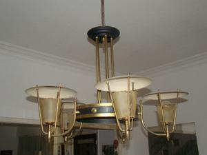 araña de bronce para cinco lámparas (antigua)