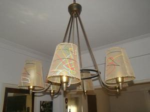 araña de bronce para seis lámparas (antigua)
