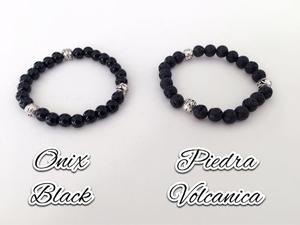 Pulsera Hombre Piedra Volcánica /onix Black Deluxe