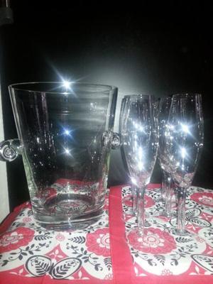 Balde Champagne Frapera Más 6 Copas De Champagne, Cristal