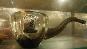 Antigua pipa cenicero de cristal fume facetado santa fe