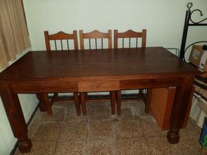 Vendo Mesa Y sillas de Pino Rusticas Impecables