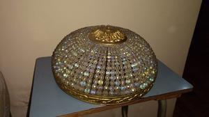 Hermosa lámpara de cristal de roca y bronce