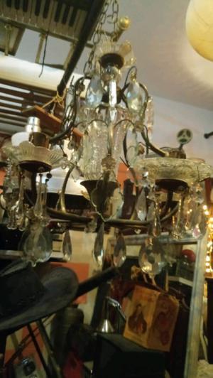Antigua araña estilo frances de bronce cristal 5 luces con