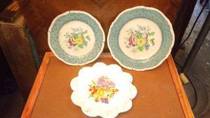 Antiguos platos decorativos de loza inglesa dos son ridgways