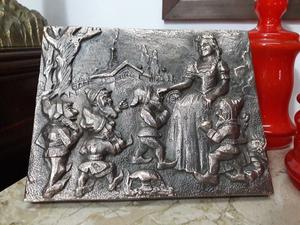 ANTIGUA PLACA EN BAJO RELIEVE EN BRONCE MACIZO