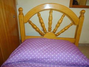 cama de 1 plaza, madera maciza (ROBLE).
