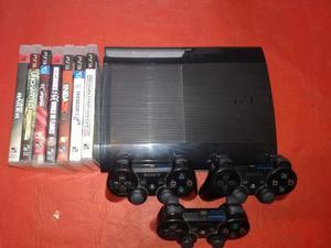 Playstation 3 Superslim, 3 Joysticks Y 7 Juegos