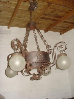 lampara de hierro cuatro luces