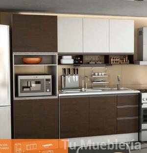 Bajo Mesada + Alacena +estantes J Aluminio + Portamicroondas