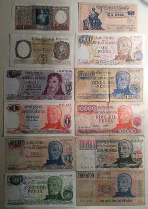 Lote de 12 billetes antiguos Argentina