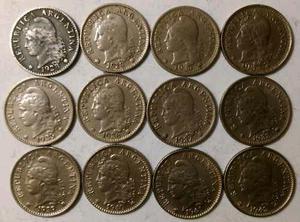 Lote de 12 monedas de 5 Centavos de Argentina