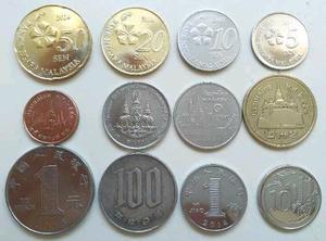 Lote de 12 monedas de Asia vigentes