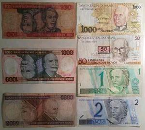 Lote de 7 billetes de Brasil antiguos y vigentes