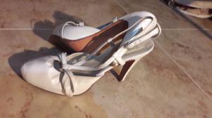 Zapatos de cuero blanco 40 tacos de 10 cmm