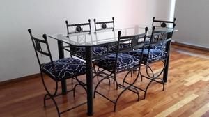 Mesa de comedor en hierro y tapa de cristal + 6 sillas y