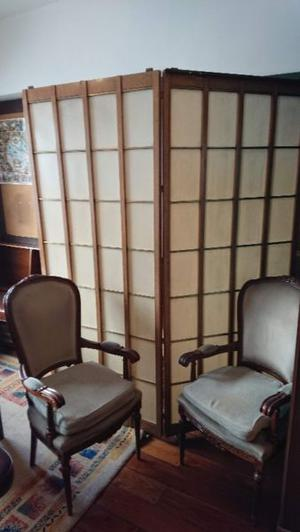 3 Divisor de ambientes de madera y bronce tela tipo oriental