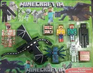 Minecraft!! 7 Personajes + 2 Cajas!! Dragon Mide 22cm! $800