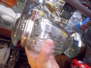 antigua caramelera o confitero de cristal verde grueso