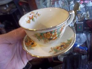 antiguo pocillo de te con platito de porcelana inglesa woods