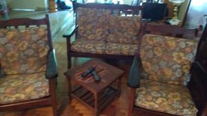importante juego de sillones de algarrobo impecables