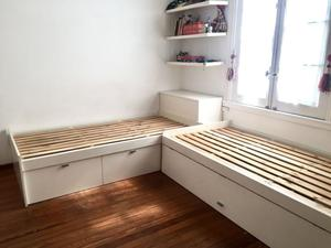 Juego de Dormitorio: 2 Camas + Baulera
