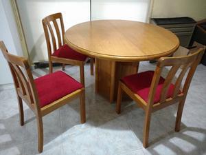 juego de comedor, mesa redonda mas seis sillas