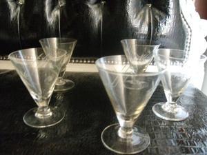 juego de 5 copas de vidrio tallado cóctel postres