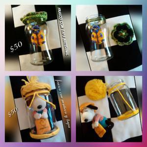 Frasco de vidrio con muñeco personalisados