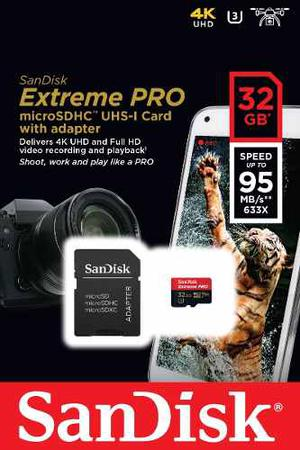 Sandisk Extreme Pro Micro Sd 32 Gb 95 Mb/s Con Adaptador Sd