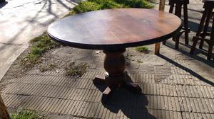 Hermosa mesa redonda de algarrobo macizo impecable