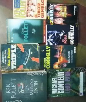 Lote de 8 libros de Ken Follett y Michael Connelly