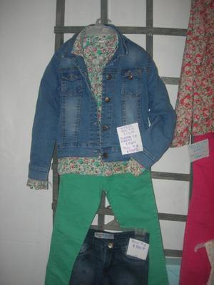 conjunto talle 8 nena campera de jean, jean, camisa cheeky