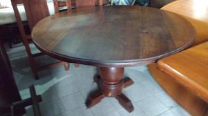 mesa redonda de algarrobo macizo impecable
