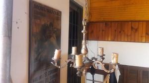 Araña de bronce antigua 6 luces