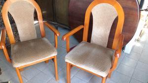 Hermosos sillones antiguos de Cedro tapizados en pana