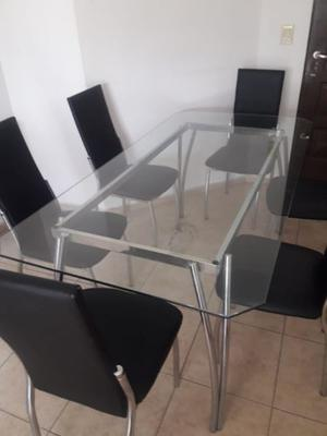 Juego de mesa de vidrio 1,80 x 0,90 mas 6 sillas
