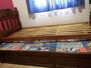 Vendo cama de algarrobo 1 plaza con carrito $