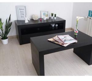 Mueble TV y mesa Ratona Laqueados en negro