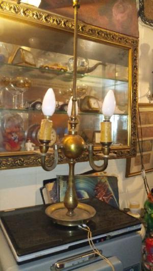 Antigua lampara de escritorio bronce holandesa tres luces