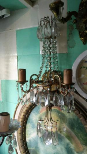 Antiguo gran aplique de bronce francés dos luces con