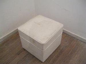 Puff Cubo Ecocuero Blanco (45cm x 45cm) IND.ARG