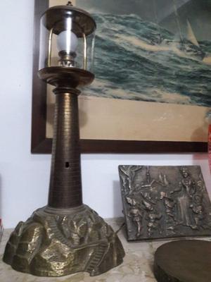 ANTIGUO FARO LAMPARA DE BRONCE MACIZO