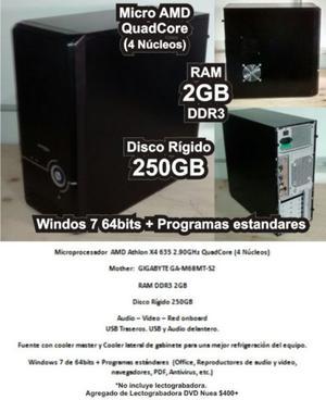 Cpu Amd Athlon X4 Disco 250gb Ram Ddr3 Win 7 + Programas