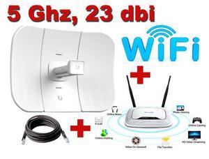 Kit Wifi 5ghz 23 Dbi, San Luis + Router Tp Link + 20 M Cable